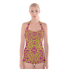 Fantasy Feathers And Polka Dots Boyleg Halter Swimsuit