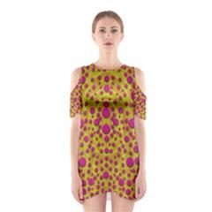 Fantasy Feathers And Polka Dots Cutout Shoulder Dress