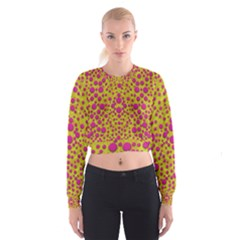 Fantasy Feathers And Polka Dots Women s Cropped Sweatshirt