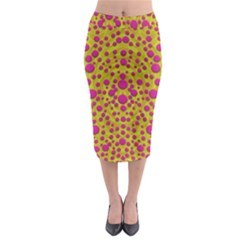 Fantasy Feathers And Polka Dots Midi Pencil Skirt