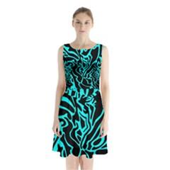 Cyan decor Sleeveless Chiffon Waist Tie Dress