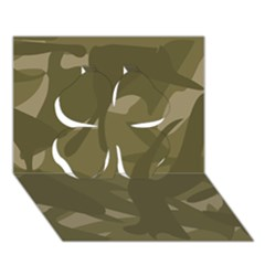 Green Camo Pattern Clover 3D Greeting Card (7x5)
