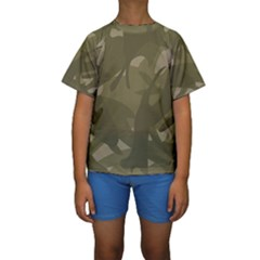 Green Camo Pattern Kid s Short Sleeve Swimwear