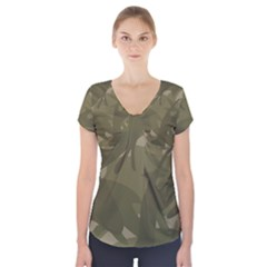 Green Camo Pattern Short Sleeve Front Detail Top