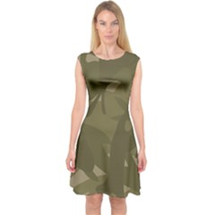 Green Camo Pattern Capsleeve Midi Dress
