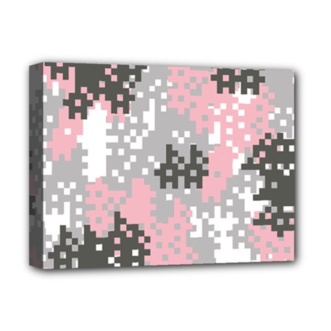 Pink Pixel Camo Pattern Deluxe Canvas 16  x 12