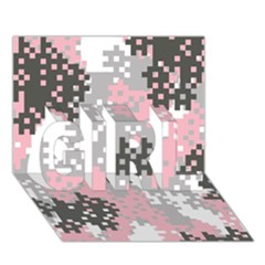 Pink Pixel Camo Pattern GIRL 3D Greeting Card (7x5)