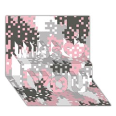 Pink Pixel Camo Pattern Miss You 3D Greeting Card (7x5)