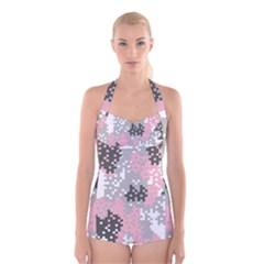 Pink Pixel Camo Pattern Boyleg Halter Swimsuit