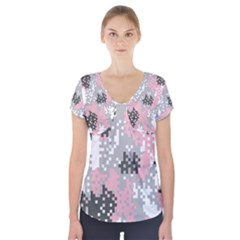 Pink Pixel Camo Pattern Short Sleeve Front Detail Top
