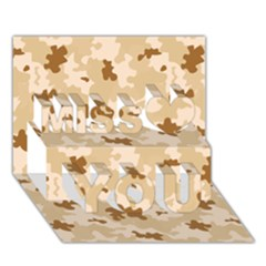 Desert Camo Pattern Miss You 3D Greeting Card (7x5)