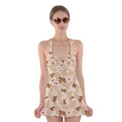 Desert Camo Pattern Halter Swimsuit Dress