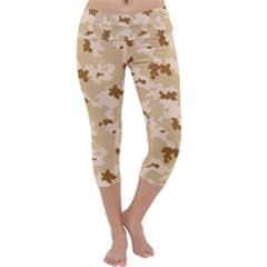 Desert Camo Pattern Capri Yoga Leggings