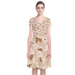 Desert Camo Pattern Short Sleeve Front Wrap Dress