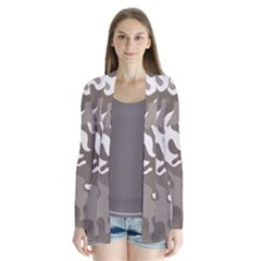 Urban Camo Pattern Drape Collar Cardigan