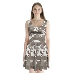 Urban Camo Pattern Split Back Mini Dress