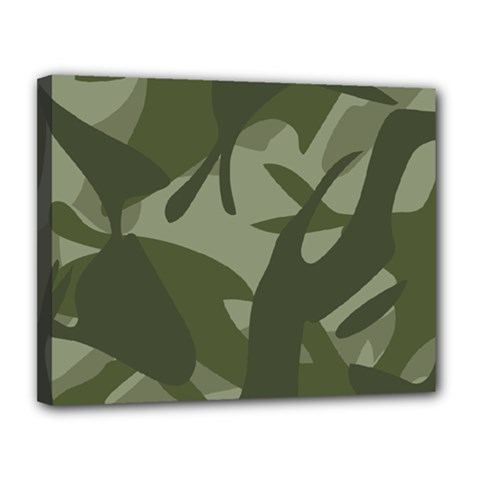 Green Camouflage Pattern Canvas 14  x 11