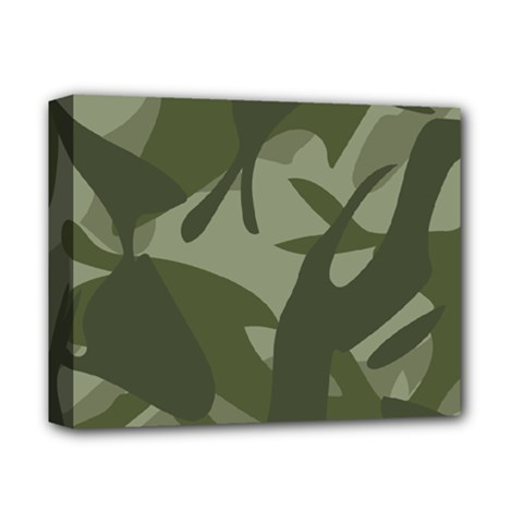 Green Camouflage Pattern Deluxe Canvas 14  x 11