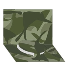 Green Camouflage Pattern Circle Bottom 3D Greeting Card (7x5)