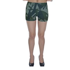 Green Camouflage Pattern Skinny Shorts