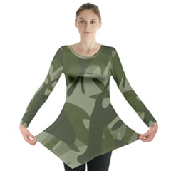 Green Camouflage Pattern Long Sleeve Tunic