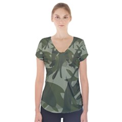 Green Camouflage Pattern Short Sleeve Front Detail Top