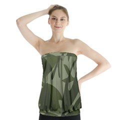 Green Camouflage Pattern Strapless Top