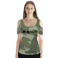 Green Camouflage Pattern Butterfly Sleeve Cutout Tee