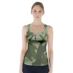 Green Camouflage Pattern Racer Back Sports Top