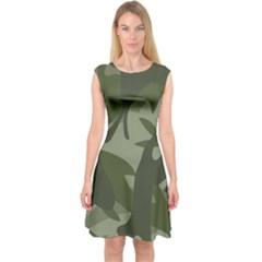 Green Camouflage Pattern Capsleeve Midi Dress