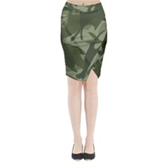 Green Camouflage Pattern Midi Wrap Pencil Skirt
