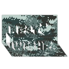 Turquoise Pixel Camo Pattern Best Wish 3D Greeting Card (8x4)