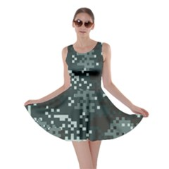 Turquoise Pixel Camo Pattern Skater Dress