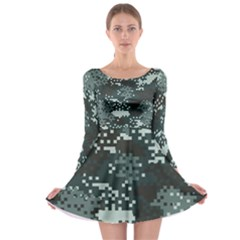 Turquoise Pixel Camo Pattern Long Sleeve Skater Dress