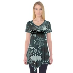 Turquoise Pixel Camo Pattern Short Sleeve Tunic