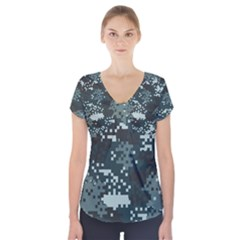Turquoise Pixel Camo Pattern Short Sleeve Front Detail Top