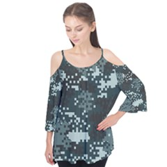 Turquoise Pixel Camo Pattern Flutter Tees