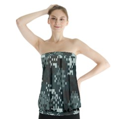 Turquoise Pixel Camo Pattern Strapless Top