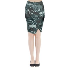 Turquoise Pixel Camo Pattern Midi Wrap Pencil Skirt