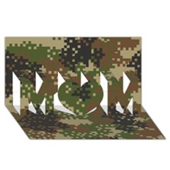 Pixel Woodland Camo Pattern MOM 3D Greeting Card (8x4)
