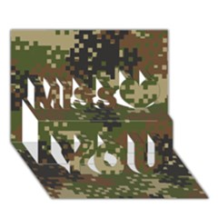 Pixel Woodland Camo Pattern Miss You 3D Greeting Card (7x5)
