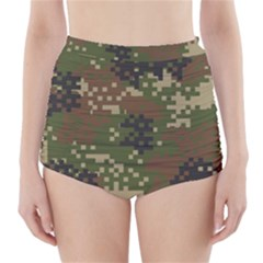 Pixel Woodland Camo Pattern High-Waisted Bikini Bottoms