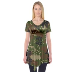 Pixel Woodland Camo Pattern Short Sleeve Tunic