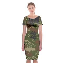 Pixel Woodland Camo Pattern Classic Short Sleeve Midi Dress