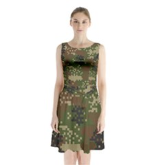 Pixel Woodland Camo Pattern Sleeveless Chiffon Waist Tie Dress