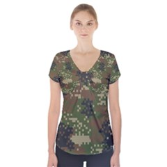 Pixel Woodland Camo Pattern Short Sleeve Front Detail Top