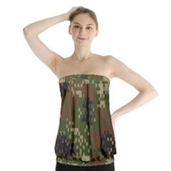 Pixel Woodland Camo Pattern Strapless Top