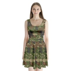 Pixel Woodland Camo Pattern Split Back Mini Dress