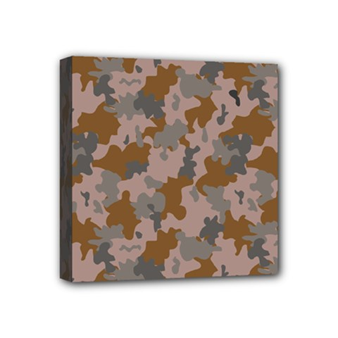 Brown And Grey Camo Pattern Mini Canvas 4  x 4