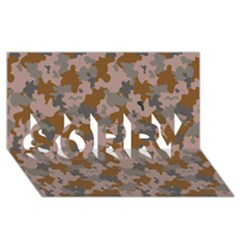Brown And Grey Camo Pattern SORRY 3D Greeting Card (8x4)